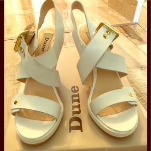 New!!! Dune London white leather wedges.  Size : 6
